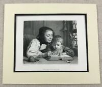 1874 Print Victorian Child and Grandmother Reading Painting Antique Engraving