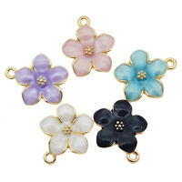 20pcs Alloy Enamel Mixed Assorted Daisy Flower Pendant Charm Jewelry Accessories
