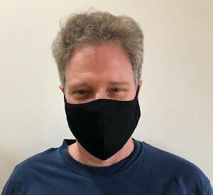 3 pack - XL Extra Large Black Face Mask Unisex Adults Cotton Blend Washable