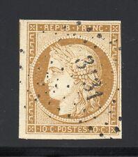 FRANCE 1850 CÉRÈS ND, YVERT N°1 oblitéré, 10c Bistre-Jaune - TB - YVERT 350 €