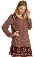 UMGEE Womens Chocolate Brown Boho Pheasent Bohemian Chic Long Sleeve Dress S M L