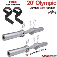 """MAXSTRENGTH Chrome 2"""" Olympic Dumbbells Barbell Bar Weight Lifting Spring Locks"""