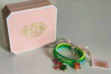 NEW JUICY COUTURE BLUE GREEN YELLOW JELLY GIRL'S BRACELET CHARM SET $42 SALE