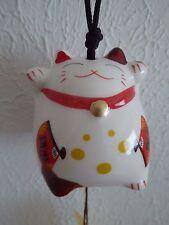Japanese Wind-Chime FURIN Maneki Neko Cat Lucky Figurine Porcelain