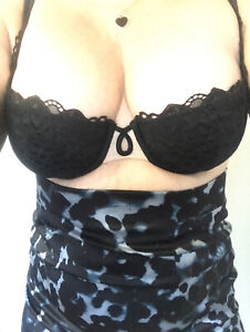 Victoria's Secret VERY SEXY Lined Demi Black Victorian Lace Bra 36C