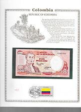 Colombia 100 Pesos Oro 1985 P426b.1 GEM UNC w/ FDI UN FLAG STAMP
