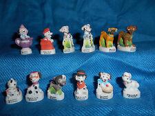 101 DALMATIANS Set 12 Mini Figurines French Porcelain FEVES MATTE Figures Disney