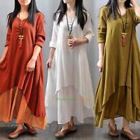 Women Peasant Ethnic Boho Cotton Linen Long Sleeve Maxi Long Dress Gypsy Blouse