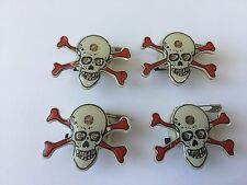 4 LED Flash Lights Glowing Brooch Pin Halloween Ghost & Skull Badge