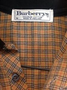 Vintage Burberry Classic Cotton Polo Size S Navy Cream Red Nova Check