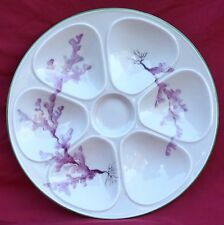 Vintage French Hand Painted Porcelain Oyster Plate Seaweed Berry 1960 C