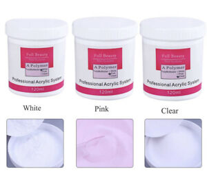 120ml Acrylic Powder Clear Pink White Polymer 3D Nail Tip Builder For Nails