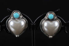 925 EARRINGS W/  ROUND TURQUOISE STONE & HEART SHAPED PEARL STONE VINTAGE 7439
