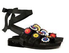 NIB Authentic TORY BURCH Marguerite Tie Slide Leather Sandals in Black Sz 8 $295