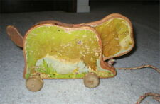 Antique 1940's Wood Pull Toy Dog, Marquetry Craft Toy Co.