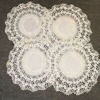 "4 Pc. Vintage Crochet Lace and Linen Doilies Set, White, 11"" - H11"