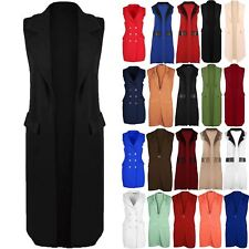 New Womens Ladies Collared Open Front Duster Sleeveless Coat Cardigan Jacket