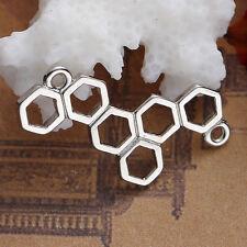 Lot 5 Connecteur Alvéole Abeille Argenté 26mm x 13mm Creation bijoux, collier