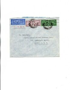 Malaya Selangor 1936 by KLM airmail to England DOUBLE WEGHT