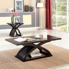 Modern Espresso Wood Coffee and End Table Set X Shaped Base Furniture 2 Pieces