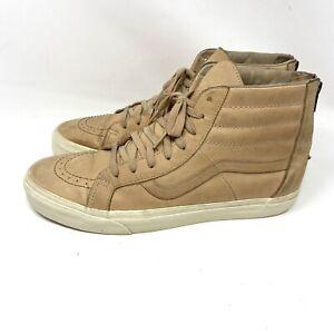 VANS Old Skool Leather Hi Top Zip Back Beige Sneakers Shoes Men's 11