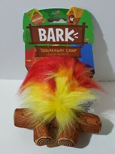 Bark Squeakaway Camp A-Hound The Campfire Squeaker Crinkle Dog Toy New