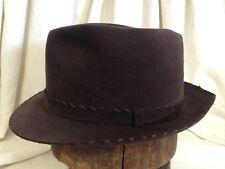 Vintage 40s Resistol 15X Beaver Mens Brown Whipstitch Fur Felt Fedora Hat -7 1/4