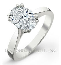 0.49 CT OVAL D I2 GIA CERTIFIED DIAMOND ENGAGEMENT RING 6.01x4.15x2.89MM