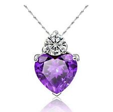 "Royal Purple Swarov Ski Element Cubic Zirconia Heart Free 18"" Necklace"