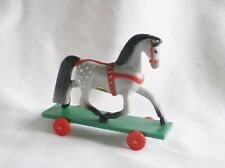 Hallmark Merry Miniatures 1985 Christmas Grey Appaloosa Horse Toy Working Wheels
