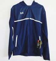 NEW MENS LARGE NAVY BLUE UNDER ARMOUR INFARED COLDGEAR 1/4 ZIP PULLOVER HOODIE