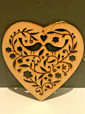 HMK, LIC Wooden Christmas Doves Ornaments Cutout Carved Wood