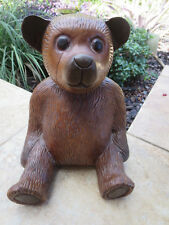 "12"" Vintage Wood Carved Folk Art Teddy Bear"
