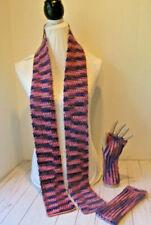 Crochet Scarf & Fingerless Glove Set~Purple and Pink Mixed Yarn