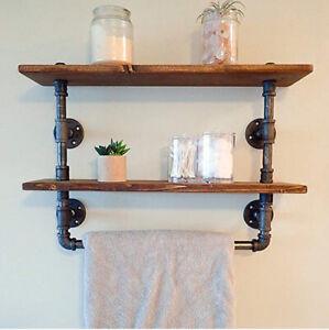 Industrial Pipe Bathroom Towel Rail With Double Rustic Oak Shelf