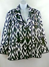 CHICO'S Blazer Jacket Size 3 Black White Geometric Polished Cotton Lined Button