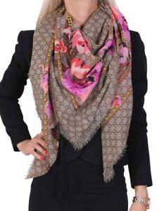 Gucci 100% Authentic GG Oshibana Pink Floral Scarf / Shawl - BNWT