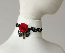 Women retro Halloween Vampire Witches BOHO Flower Rose choker Short Necklace