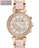 New Michael Kors Parker Rose Gold Blush MK5896 Watch for Women Blush Crystal Set