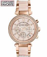 New Michael Kors Parker Rose Gold Blush Mk5896 Watch for Women Blush Crystal Set