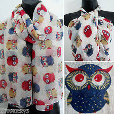 Retro Owl Print Brid Scarf Animal Wrap Sarong Shawl Scarves Celebrity Scarves
