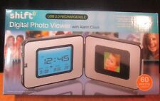 SHIFT DIGITAL PHOTO VIEWER WITH ALARM CLOCK/TEMP ~ USB 2.0 RECHARGEABLE~ *NEW*