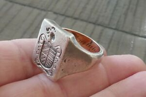 Antique Sterling & 14kt Yellow Gold  Family Crest Ring - Size 10.5