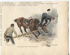 ANTIQUE LIEUTENANT SOLDIER BEING THROWN OFF A BROWN HORSE ROPE COLOR ART PRINT