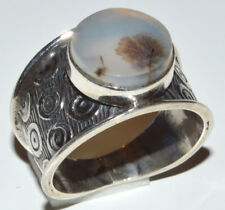 Russian Dendritic Agate 925 Sterling Silver Ring Jewelry s.9 JJ11907