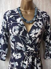 BNWT MONSOON Élégant Violet/Blanc Robe Taille 8UK/36EUR/4US RRP £ 55