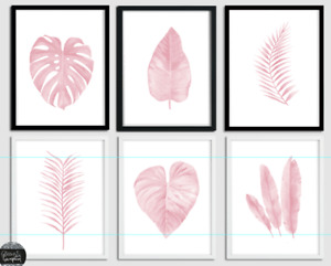 Beautiful Pink watercolour Botanical plant beauty room bedroom wall art prints