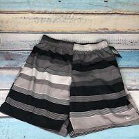 Nike Mens XL Black Striped Swim Trunks Shorts With Liner Pockets  NWT $54