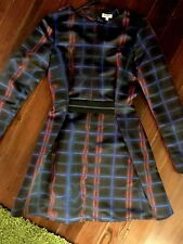 Red And Blue  Plaid Silk Kenzo Paris Fit And Flare Dress Size 2