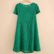 Summer Women Floral Lace Short Sleeve Cocktail Party Casual Mini Dress Classic